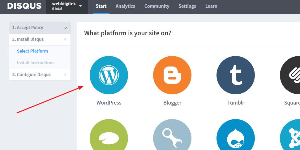 Disqus WordPress Site Ekleme